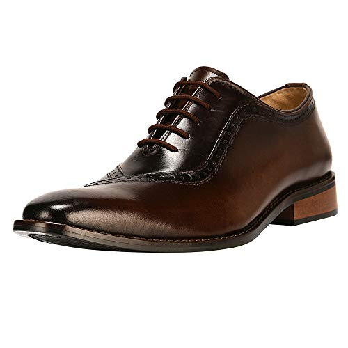 (Liberty Men's Genuine Handmade Finest Leather with Burnished Toe - Lace up Oxford Dress Shoes)