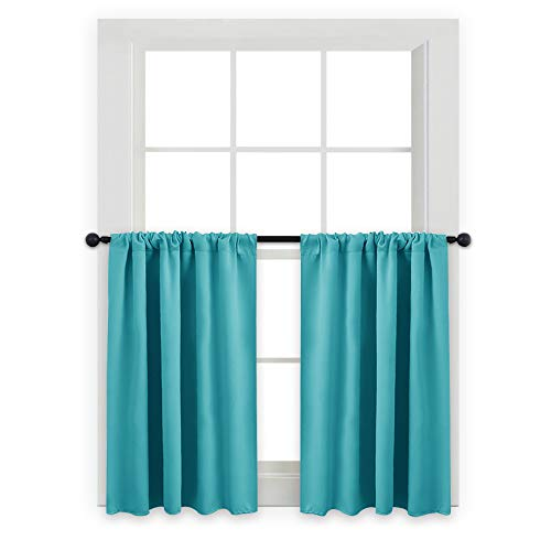 PONY DANCE Blackout Valances Tiers - Rod Pocket Room Darkening Small Window Curtains for Harf Cafe Windows/Kitchen/Bathroom, 42