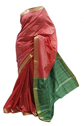 ASB3409 Saree de seda de arte rosa y verde Indian Art Silk Saree Sari Curtain Drape Fabric Rosa