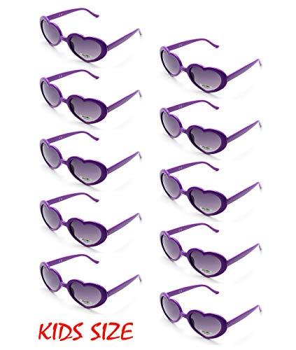 (10 Neon Colors Heart Shaped Unisex Wholesale Sunglasses for Kids Party Favor Supplies (10-pack Purple))