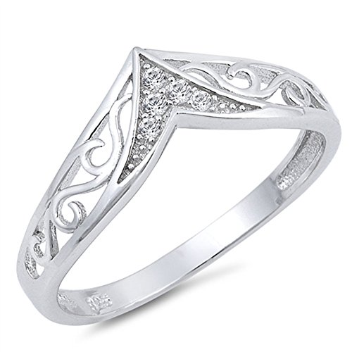 Filigree Chevron Clear CZ Thumb Ring New .925 Sterling Silver Band Size 9