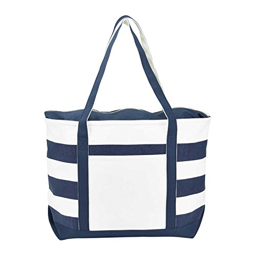 DALIX Striped Boat Bag Premium Cotton Canvas Tote in Navy ()
