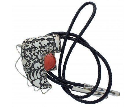 Alex Sanchez, Bolo, Mediterranean Coral, Rock Art, Sterling Silver, Navajo, 48in