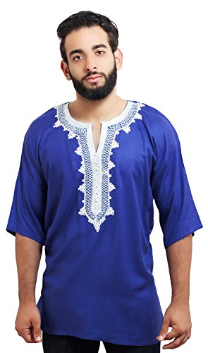Moroccan Men Tunic Caftan Breathable Fiber Cotton Hand Tread Embroidery Ethnic Blue Gold embroidery