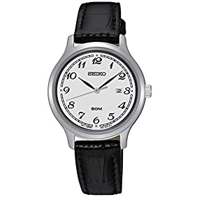 Seiko SUR775 Women's Stainless Steel Black Leather Strap Band Silver Dial Watch