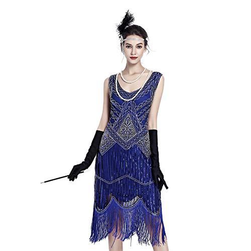 Gatsby Dresses for Women 20s Dresses for Women Sequin Flapper Beaded Tassels Hem Great Gatsby Themed Roaring 20s Dresses -