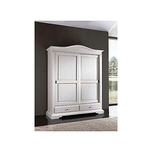 Schrank mit 2Türen weiß lackiert Massivholz X Schlafzimmer–Wie Foto