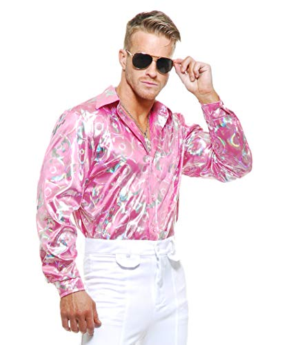 Charades Men's Disco Shirt, Pink, Medium -