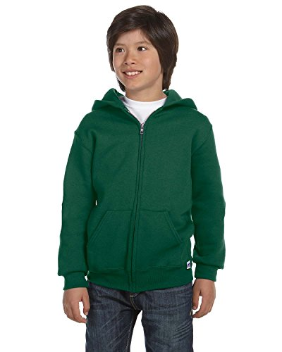 Russell Athletic Girls Dri-Power Fleece Full-Zip Hood (997HBB) -DARK GREEN -L