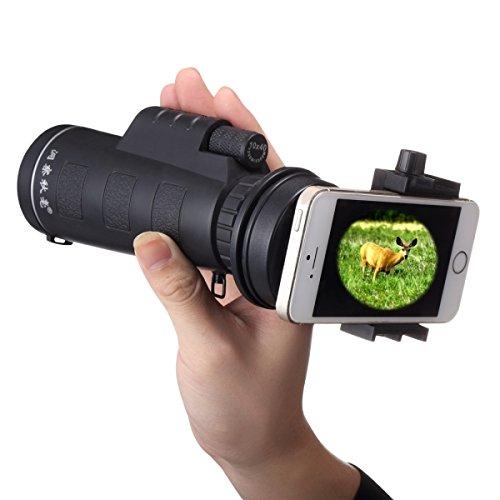 Generic 10 x 40 mm Life防水光学Monocular Telescope withユニバーサルホルダークリップ、クリップSuitable for横幅5.8 cm-9.2 cmモバイル携帯電話(ブラック)   B071QYL5C8