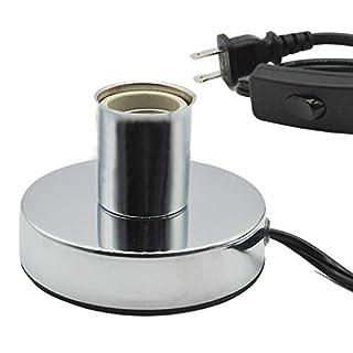 Metal Table Lamp Base,Standard E26 E27 Socket for UVC Germicidal Bulb,with in-line ON/OFF Switch,Holding Medimun Screw Base Light Bulb on Desktop (1pc Lamp Holder with in-line ON/OFF Switch)