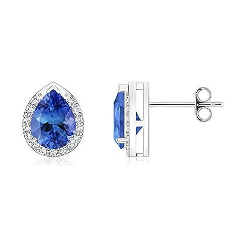 Diamond Halo Pear Shaped Tanzanite Stud Earrings in Platinum (7x5mm Tanzanite)