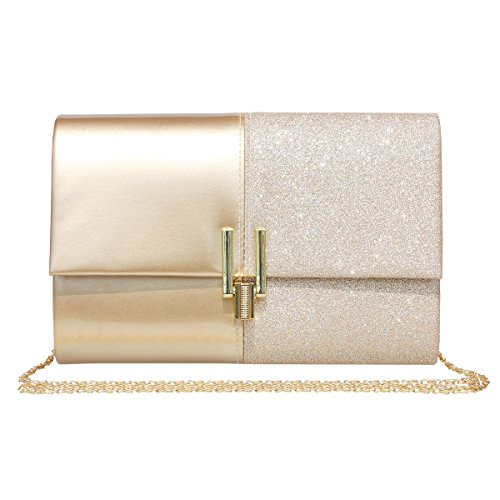 Women Evening Bag Glitter Clutch Purse For Wedding Prom Party,Gold