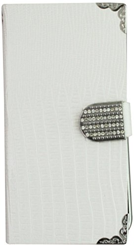 Asmyna MyJacket Wallet with Metal Diamonds Buckle and Silver Plating Tray for iPhone 6 Plus - Retail Packaging - White Crocodile Skin
