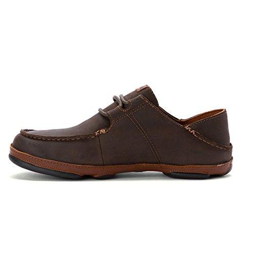 OluKai 'Ohana Cordones Nobuck Zapatos–Hombre, Marrón (Dark Wood/Toffee), 44