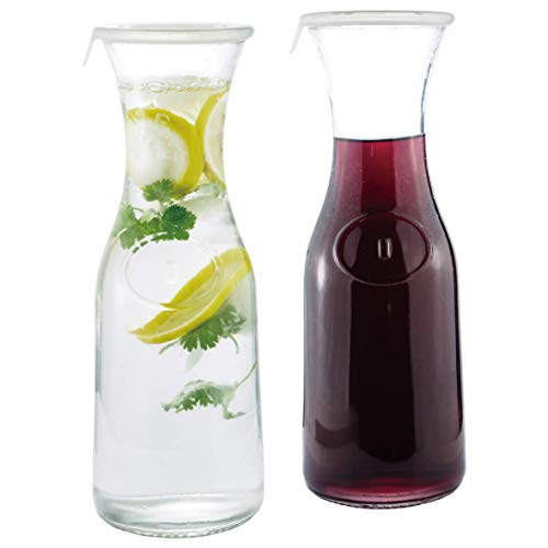 Glass Water or Wine Carafe- 1 Liter (2) w/Lids
