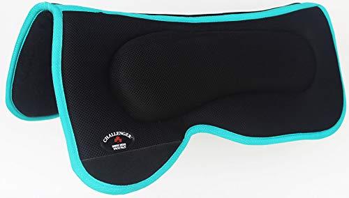 PRORIDER Western Horse Saddle PAD with Anti Slip Memory Foam Black Turquoise Light ()
