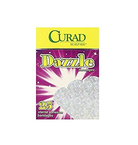 Curad Dazzle Bandages, 25ct + FREE Luxury Luffa Loofah Bath Sponge On A Rope, Color May Vary