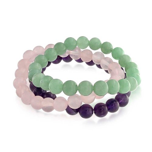 - Bling Jewelry Set of 3 Dyed Purple Amethyst Pink Rose Quartz Green Aventurine 8MM Ball Bead Stones Stretch Bracelet for Women Set