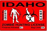 Idaho ID Zombie Hunting License Permit Red - Biohazard Response Team Automotive Car Window Locker Bumper Sticker