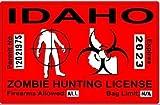 Idaho ID Zombie Hunting License Permit Red - Biohazard Response Team Automotive Car Window Locker Bumper Sticker