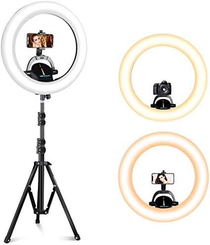 """UBeesize Ring Light Kit: 16"""" LED Ring Light with Wireless Control, Professional Bi-Color 3000K-6000K Circle Lights, Up to 5000Lux"""