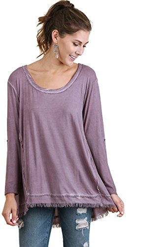 Umgee Women's Mineral Washed Frayed Tunic with Roll Up Sleeves Reg & Plus Size (Small, Fig)
