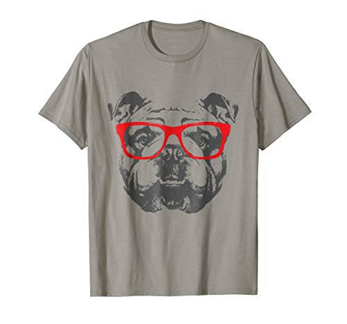(English Bulldog T-Shirt Design Red Glasses Nice Tee)