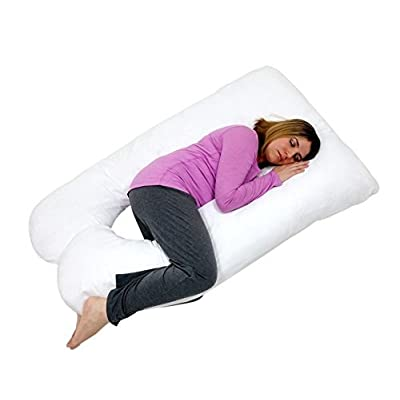 U Shaped-Premium Contoured Body Pregnancy Maternity Pillow with Zippered Cover