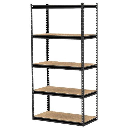 Gorilla Rack GRZ6-3618-5BPCB 36 by 18 by 72-Inch Shelving Unit with 5-shelf, Black