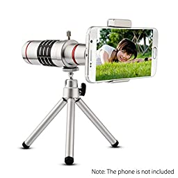Chunnuan Universal 18x Magnification Lens Zoom in Telescope Optical Telephoto Lens For iPhone Samsung Smartphones With Tripod Holder