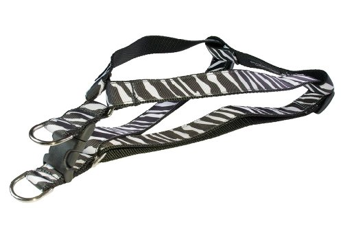 Sassy Dog Wear 15-21-Inch Black/White Zebra Dog Harness, Small