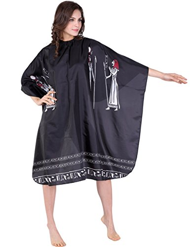 Pattern Water Repellent (XMW Professional Water Repellent and Wipe Clean Egypt-Pattern Hair Salon Cape with Snaps, Black)