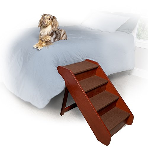 PetSafe Solvit PupSTEP Wood Pet Stairs, Foldable Steps for Dogs and Cats, Best for Small to Medium Pets