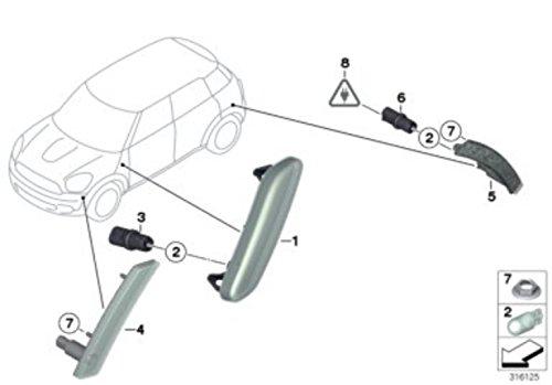 MINI Genuine Turn Signal Lamp Indicator Light Right O//S White 63139802570