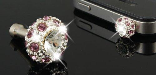 Amazon.com: eDealMax teléfono celular portátil Bling cristalino Rosado 3,5 mm Para auriculares del polvo Anti tapón: Electronics
