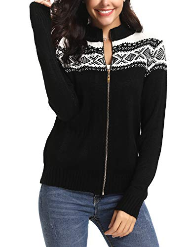 iClosam Women Knit Sweater Long Sleeve Solid Pullover Turtleneck Sweater (Black Zip, Large)