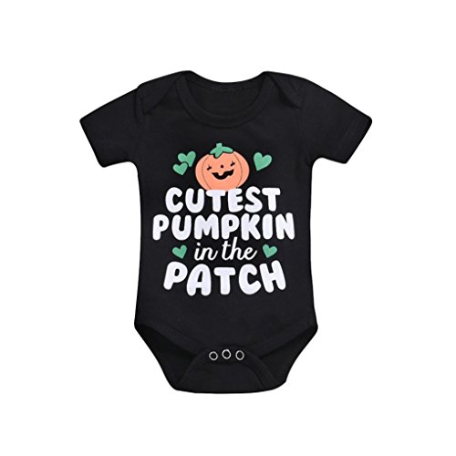 SUNTEAMO Newborn Infant Baby Girls Boys Letter Print Romper Jumpsuit Halloween Outfits (Black, 70)