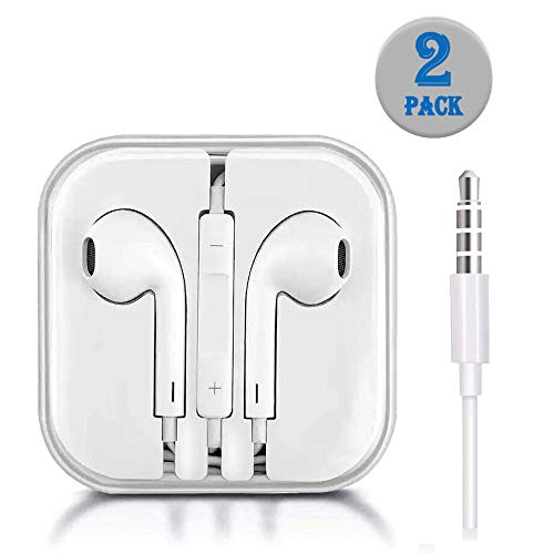 Earbuds in-Ear Headphones, Wired Noise-Isolated White Headsets with Stereo Microphone and Controller, Earphones Compatible with All 3.5mm Interface Devices.