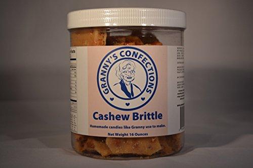 Handmade Cashew Brittle. Premium Cashews. Voted Best Brittle - One Pound (16 oz) Container by Granny's Confections LLC