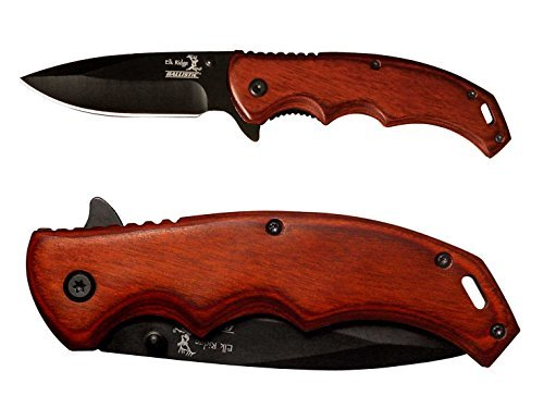 Plain Non engraved Elk Ridge ER-A004BW Pakkawood Stalwart Folding Ballistic Pocket Knife by NDZ Performance