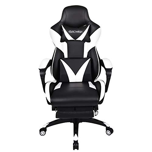 FULLWATT Gaming Chair High Back PU Leather Video Game Chairs 150 Degree Adjustable Swivel Executive Computer Gaming Chairs Ergonomic Style Swivel Chair with Footrest (White)
