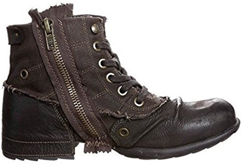 Replay Clutch Dark Brown Hombres Side Zip Botas De Cuero De Tobillo Medio
