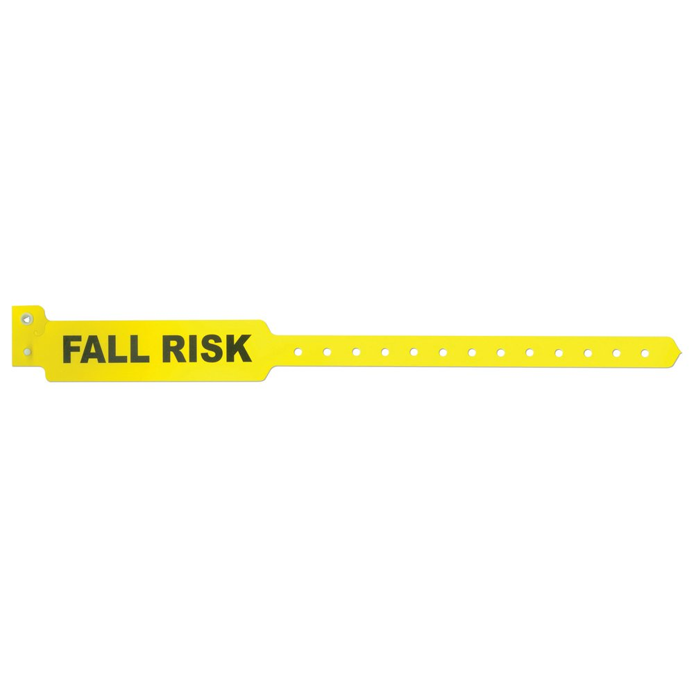 PDC Healthcare Sentry 5055-14-PDM Polyester Adult Alert Wristband, ''Fall Risk'' Pre-Printed, Permanent Snap Closure, Yellow (Box of 500)