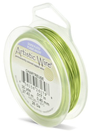Artistic Wire 26-Gauge Silver Plated Chartreuse Wire, 30-Yards