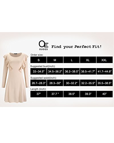 Ruffles Sleeve Cotton Dress OUGES Apricot Flare Cap Women's Casual qwUxFaT