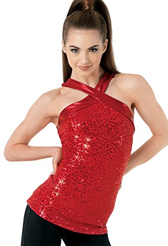 Balera Top Girls Tank Top For Dance Sequin And Metallic Tank Red Child Medium from Balera