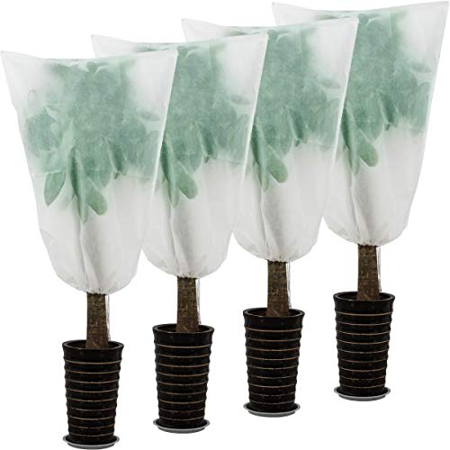 ANPHSIN Pack of 4 Drawstring Plant Covers- Large Size 47.2 × 31.5 inch Plant Protection Cover Bags Frost Blanket for Frost Protection- Medium