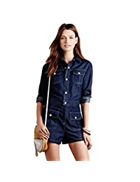Niseng Women's Denim Long Sleeve Jumpsuit Casual Jeans Short Romper Playsuit