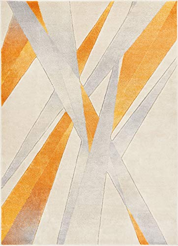 Yellow Stripes Rug - Sortie Yellow Modern Geometric Lines Hand Carved 5x7 (5'3